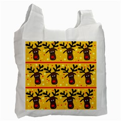 Christmas Reindeer Pattern Recycle Bag (two Side)  by Valentinaart