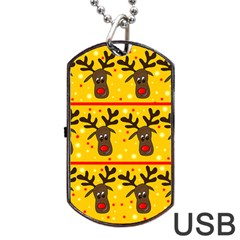 Christmas Reindeer Pattern Dog Tag Usb Flash (one Side) by Valentinaart
