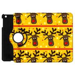 Christmas Reindeer Pattern Apple Ipad Mini Flip 360 Case by Valentinaart