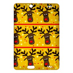 Christmas Reindeer Pattern Amazon Kindle Fire Hd (2013) Hardshell Case by Valentinaart