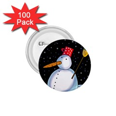 Lonely Snowman 1 75  Buttons (100 Pack)  by Valentinaart