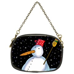 Lonely Snowman Chain Purses (one Side)  by Valentinaart