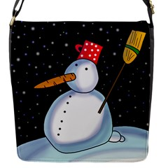 Lonely Snowman Flap Messenger Bag (s) by Valentinaart