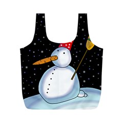 Lonely Snowman Full Print Recycle Bags (m)  by Valentinaart