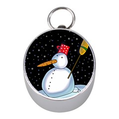 Lonely Snowman Mini Silver Compasses by Valentinaart