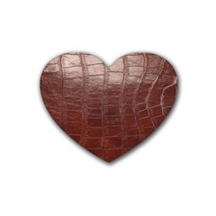 Leather Snake Skin Texture Rubber Coaster (heart)  by AnjaniArt