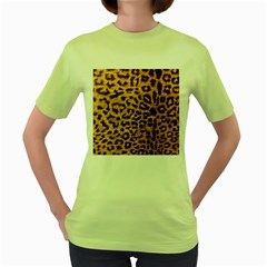 Leopard Print Animal Print Backdrop Women s Green T Shirt by AnjaniArt