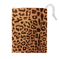 Leopard Print Animal Print Backdrop Drawstring Pouches (extra Large) by AnjaniArt