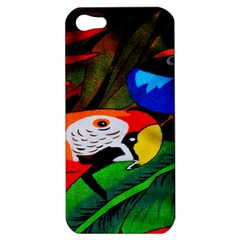 Papgei Red Bird Animal World Towel Apple Iphone 5 Hardshell Case by AnjaniArt