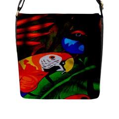 Papgei Red Bird Animal World Towel Flap Messenger Bag (l)  by AnjaniArt