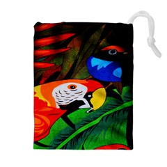 Papgei Red Bird Animal World Towel Drawstring Pouches (extra Large) by AnjaniArt