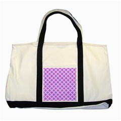 Pastel Pink Mod Circles Two Tone Tote Bag by BrightVibesDesign