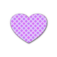Pastel Pink Mod Circles Heart Coaster (4 Pack)  by BrightVibesDesign