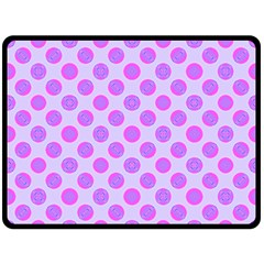 Pastel Pink Mod Circles Double Sided Fleece Blanket (large)  by BrightVibesDesign
