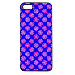 Bright Mod Pink Circles On Blue Apple Iphone 5 Seamless Case (black) by BrightVibesDesign