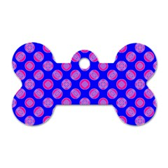 Bright Mod Pink Circles On Blue Dog Tag Bone (two Sides) by BrightVibesDesign