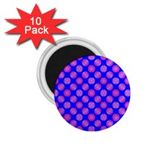 Bright Mod Pink Circles On Blue 1 75  Magnets (10 Pack)  by BrightVibesDesign