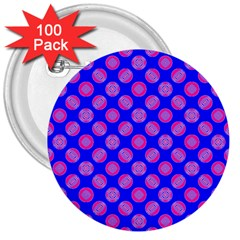 Bright Mod Pink Circles On Blue 3  Buttons (100 Pack)  by BrightVibesDesign