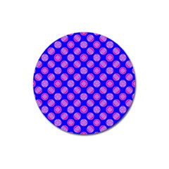 Bright Mod Pink Circles On Blue Magnet 3  (round) by BrightVibesDesign