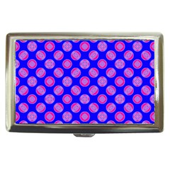 Bright Mod Pink Circles On Blue Cigarette Money Cases by BrightVibesDesign