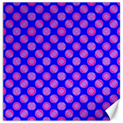 Bright Mod Pink Circles On Blue Canvas 12  X 12   by BrightVibesDesign