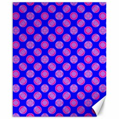Bright Mod Pink Circles On Blue Canvas 16  X 20   by BrightVibesDesign