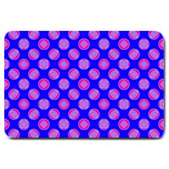Bright Mod Pink Circles On Blue Large Doormat  by BrightVibesDesign