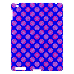 Bright Mod Pink Circles On Blue Apple Ipad 3/4 Hardshell Case by BrightVibesDesign