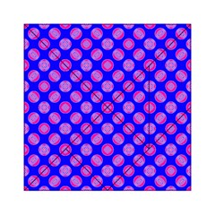 Bright Mod Pink Circles On Blue Acrylic Tangram Puzzle (6  X 6 ) by BrightVibesDesign