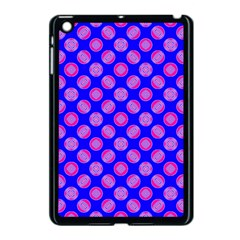 Bright Mod Pink Circles On Blue Apple Ipad Mini Case (black) by BrightVibesDesign
