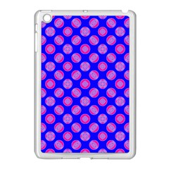 Bright Mod Pink Circles On Blue Apple Ipad Mini Case (white) by BrightVibesDesign