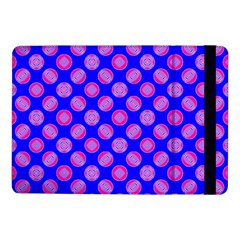 Bright Mod Pink Circles On Blue Samsung Galaxy Tab Pro 10 1  Flip Case by BrightVibesDesign
