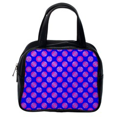 Bright Mod Pink Circles On Blue Classic Handbags (one Side) by BrightVibesDesign