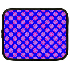 Bright Mod Pink Circles On Blue Netbook Case (xxl)  by BrightVibesDesign