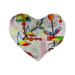 Happy Day Standard 16  Premium Flano Heart Shape Cushions by Valentinaart