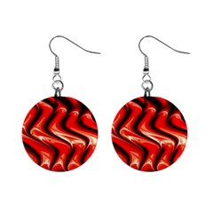 Red Fractal  Mathematics Abstact Mini Button Earrings