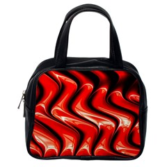 Red Fractal  Mathematics Abstact Classic Handbags (one Side) by AnjaniArt