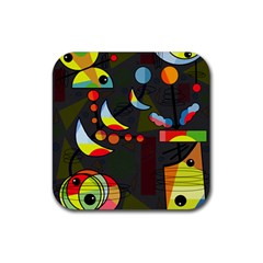 Happy Day 2 Rubber Coaster (square)  by Valentinaart