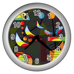 Happy Day 2 Wall Clocks (silver)  by Valentinaart