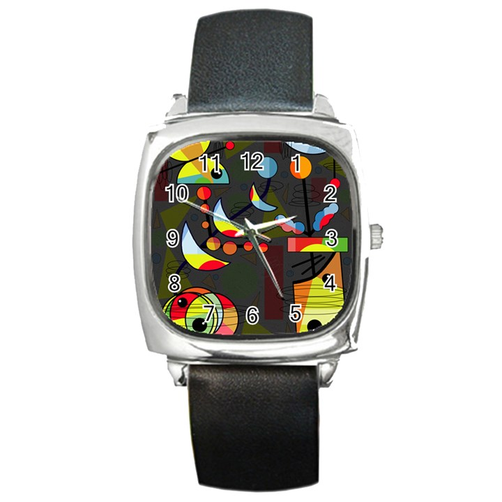 Happy day 2 Square Metal Watch