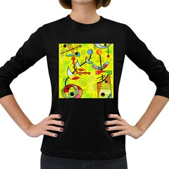 Happy Day   Yellow Women s Long Sleeve Dark T Shirts by Valentinaart