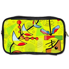 Happy Day   Yellow Toiletries Bags 2 Side by Valentinaart