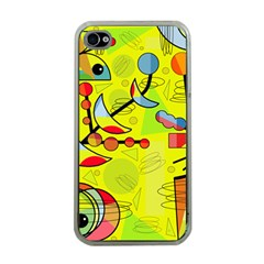 Happy Day   Yellow Apple Iphone 4 Case (clear) by Valentinaart
