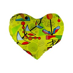 Happy Day   Yellow Standard 16  Premium Flano Heart Shape Cushions by Valentinaart