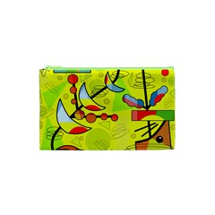Happy Day   Yellow Cosmetic Bag (xs) by Valentinaart