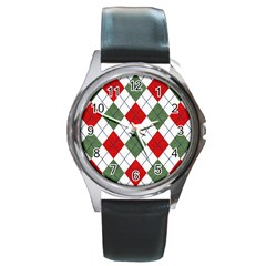 Red Green White Argyle Navy Round Metal Watch by AnjaniArt