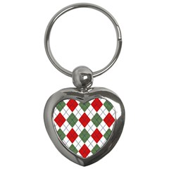 Red Green White Argyle Navy Key Chains (heart)  by AnjaniArt