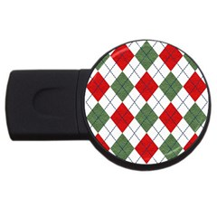 Red Green White Argyle Navy Usb Flash Drive Round (4 Gb)  by AnjaniArt