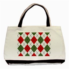 Red Green White Argyle Navy Basic Tote Bag by AnjaniArt