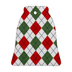 Red Green White Argyle Navy Ornament (bell)  by AnjaniArt